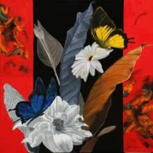 Sulakshana Dharmadhikari | Oil Painting title Flower With Butterfly 7 on Canvas | Artist Sulakshana Dharmadhikari Gallery | ArtZolo.com