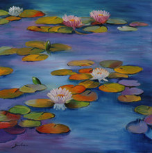 Landscape Oil Art Painting title 'Lily Pond 19- 24x24' by artist Sulakshana Dharmadhikari