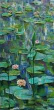 Warer - lily - 4 - 18x36 | Painting by artist Sulakshana Dharmadhikari | oil | Canvas