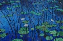 Water - lily 3 - 36x24 | Painting by artist Sulakshana Dharmadhikari | oil | Canvas