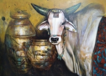 Animals Acrylic Art Painting title Ancient Bull by artist Jiban Biswas