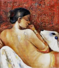 Jiban Biswas Paintings | Figurative Painting - Beauty 1 by artist Jiban Biswas | ArtZolo.com