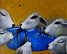 Jiban Biswas | Acrylic Painting title Relation on Canvas | Artist Jiban Biswas Gallery | ArtZolo.com