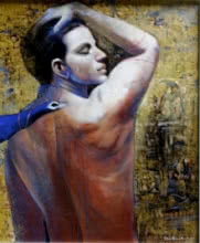 Jiban Biswas Paintings | Figurative Painting - Me by artist Jiban Biswas | ArtZolo.com