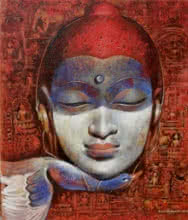 Figurative Acrylic Art Painting title Buddha 2 by artist Jiban Biswas