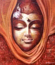 Figurative Acrylic Art Painting title 'Buddha 1' by artist Jiban Biswas