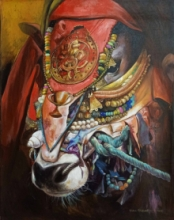 Animals Acrylic Art Painting title Nandi 2 by artist Jiban Biswas