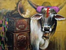 Animals Acrylic Art Painting title Nostalgia 2 by artist Jiban Biswas