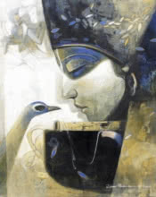 Jiban Biswas Paintings | Figurative Painting - Love by artist Jiban Biswas | ArtZolo.com