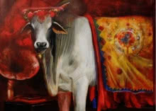 Cow 4 | Painting by artist Jiban Biswas | acrylic | Canvas