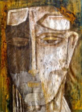 contemporary Mixed-media Art Painting title 'Head 1' by artist Rajesh Yadav