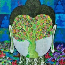 Religious Mixed-media Art Painting title 'Bodhi Tree' by artist Chandra Morkonda