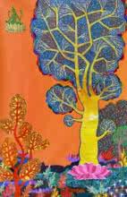 Religious Mixed-media Art Painting title 'Mahalakshmi' by artist Chandra Morkonda