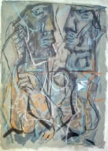 Jitendra Suralkar | Mixed-media Painting title Abstract 3 on Paper | Artist Jitendra Suralkar Gallery | ArtZolo.com
