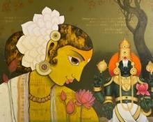 Religious Acrylic Art Painting title 'Balaji Lakshmi' by artist Sachin Kharat
