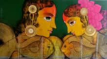 Figurative Acrylic Art Painting title 'Love' by artist Sachin Kharat