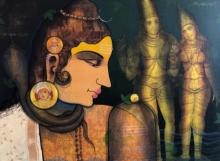 Religious Acrylic Art Painting title Shivling by artist Sachin Kharat
