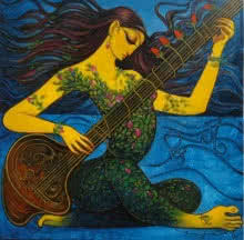 Lady playing Sitar | Painting by artist Ramesh Gujar | acrylic | Canvas