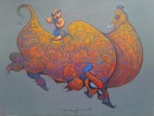 Ramesh Gujar | Acrylic Painting title Krishna On Bull on Canvas | Artist Ramesh Gujar Gallery | ArtZolo.com