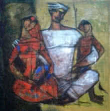 Ramesh Gujar | Acrylic Painting title Family 4 on Canvas
