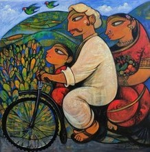 Figurative Acrylic Art Painting title 'Family 7' by artist Ramesh Gujar
