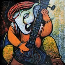 Religious Acrylic Art Painting title Ganesha by artist Ramesh Gujar