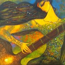 Figurative Acrylic Art Painting title 'Sitar Vadan 3' by artist Ramesh Gujar