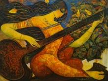 Figurative Acrylic Art Painting title 'Sitar Vadan 4' by artist Ramesh Gujar