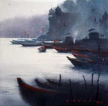Landscape Watercolor Art Painting title 'Banaras Ghat' by artist Nilesh Bharti