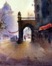 Cityscape Watercolor Art Painting title Mumbai Morning by artist Nilesh Bharti