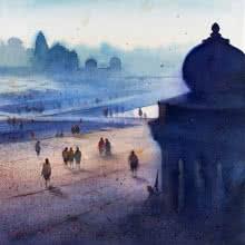 Nilesh Bharti | Watercolor Painting title Ganga Ghat 2 on Paper | Artist Nilesh Bharti Gallery | ArtZolo.com