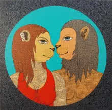 Fantasy Mixed-media Art Painting title 'Golden Couple' by artist Bandana Kumari