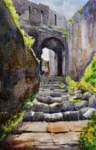 Ramdas Thorat | Watercolor Painting title Lohagad Fort on Paper | Artist Ramdas Thorat Gallery | ArtZolo.com