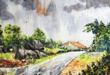 Landscape Watercolor Art Painting title 'Village 1' by artist Ramdas Thorat