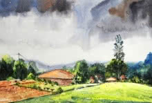 Landscape Watercolor Art Painting title 'Village 2' by artist Ramdas Thorat