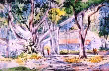 Landscape Watercolor Art Painting title 'University Of Pune' by artist Ramdas Thorat