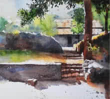 Landscape Watercolor Art Painting title Yard by artist Ramdas Thorat