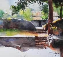 Yard | Painting by artist Ramdas Thorat | watercolor | Paper