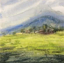 Landscape Watercolor Art Painting title Untitled by artist Ramdas Thorat