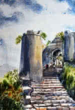 Landscape Watercolor Art Painting title 'Kalyan Darwaja Sinhgad' by artist Ramdas Thorat
