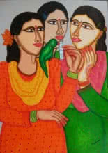 Figurative Acrylic Art Painting title Fortune Teller by artist Dhan Prasad