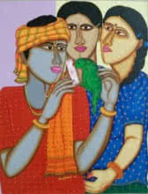 Fortune Teller | Painting by artist Dhan Prasad | acrylic | Handmade paper