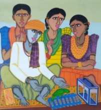 Figurative Acrylic Art Painting title Fortune Teller 1 by artist Dhan Prasad