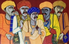 Figurative Acrylic Art Painting title Fortune Teller 2 by artist Dhan Prasad