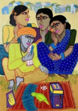 Figurative Acrylic Art Painting title Fortune Teller 5 by artist Dhan Prasad