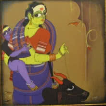 KV Kale | Acrylic Painting title Mother and Child on Canvas | Artist KV Kale Gallery | ArtZolo.com