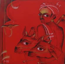 KV Kale | Acrylic Painting title Cow Keeper on Canvas | Artist KV Kale Gallery | ArtZolo.com