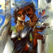 Shravan Kumar | Mixed-media Painting title Lovely Couple 2 on Canvas | Artist Shravan Kumar Gallery | ArtZolo.com