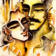 Shravan Kumar | Mixed-media Painting title Lovely Couple 6 on Canvas | Artist Shravan Kumar Gallery | ArtZolo.com