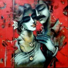 Shravan Kumar | Mixed-media Painting title Lovely Couple 03 on Canvas | Artist Shravan Kumar Gallery | ArtZolo.com